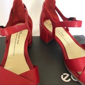 Ecco Shoes   Shape 35 Red Block Sandals